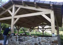 Abri terrasse - chevilles bois - tenon mortaise